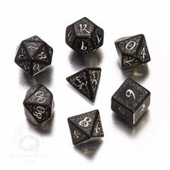Black & Glow in the Dark Elvish 7 Dice Set