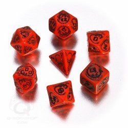 Red & Black Dragons 7 Dice Set
