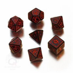 Black & Red Runic 7 Dice Set