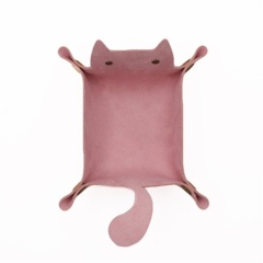 Leather Dice Tray Cat Shape Storage - Pink