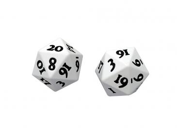 Ultra Pro - Heavy Metal Dice D20: Set Of 2 - White With Black Numbers