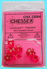 7 Pink w/white Transparent Polyhedral Dice Set - CHX23064