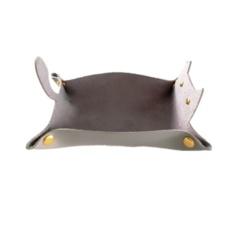 Leather Dice Tray Cat Shape Storage - Grey