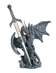 Small Silver Dragon Castle with Letter Opener