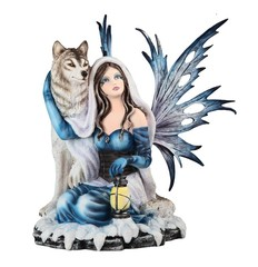 Blue Fairy Sitting with Wolf