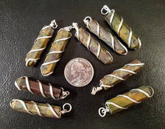 Coil Wrapped Medachite Pendant
