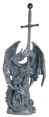 Large Silver Dragon with Sword