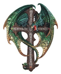 Dragon with Cross Wall Plaque 71783