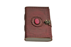 Pink Onyx Leather Journal with Lock 242583