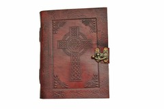 Celtic Cross Leather Journal with Lock 242564