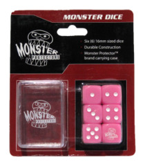 Monster Protectors - 6x Six-Sided Dice (d6) & Carrying Case - Pink