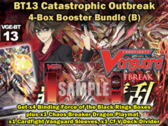 Cardfight Vanguard BT13 Bundle (B) - Get x4 Catastrophic Outbreak Booster Box + Cf-Vanguard Sleeves & BT13 Playmat