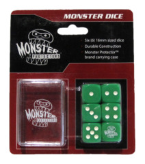 Monster Protectors - 6x Six-Sided Dice (d6) & Carrying Case - Green