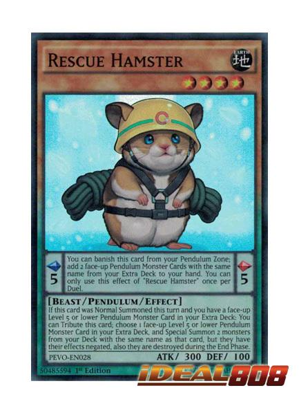 PEVO-EN028 Rescue Hamster Super Rare 1st Edition Mint YuGiOh Card
