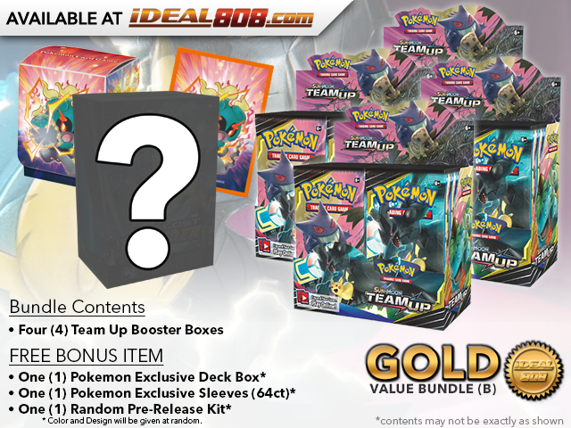 Pokemon SM09 Bundle (B) Gold - Get x4 Team Up Booster Box + FREE Bonus
