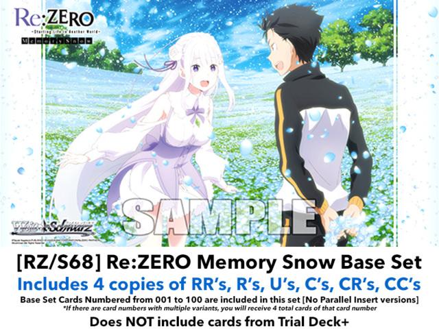 [RZ/S68] Re:ZERO - Memory Snow (EN) Base Playset [Includes RR's, R's, U's, C's, CR's, CC's (400 cards)]