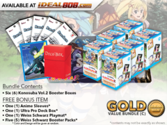 Weiss Schwarz KS Bundle (C) Gold - Get x6 Konosuba Vol.2 Booster Boxes + FREE Bonus Items * PRE-ORDER SHIPS Nov.30