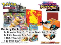Pokemon SS04 Variety Pack - Get x1 Sword & Shield: Vivid Voltage Booster Box, x1 Theme Deck Set; x1 ETB + FREE Bonus * Nov.13