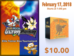 [EVENT TICKET] ToyLynx - Dole Cannery - Ultra Prism Elite Trainer Box Tournament [February 21, 2018 at 1:00 pm] * Limit 1 per *
