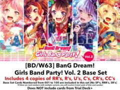[BD/W63] BanG Dream! Girls Band Party! Vol. 2 (EN) Base Playset [Includes RR's, R's, U's, C's, CR's, CC's (400 cards)]