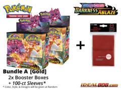 Pokemon SS03 Bundle (A) Gold - Get x2 Sword & Shield: Darkness Ablaze Booster Box + FREE Bonus Items * PRE-ORDER Ships Aug.14
