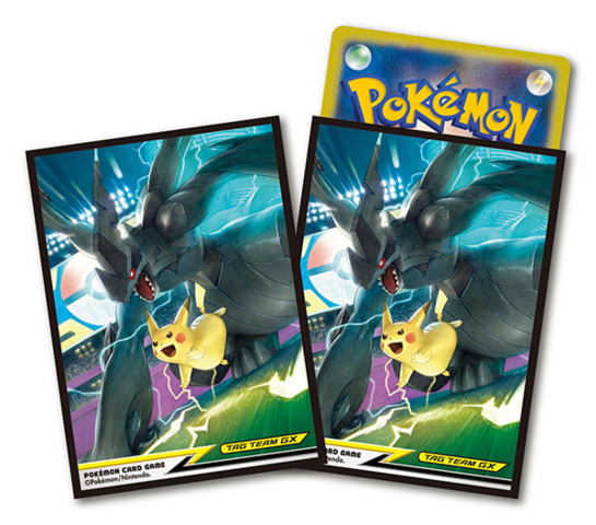 Pokemon Sun Moon Card Sleeves 64ct Pikachu Zekrom Tag Team