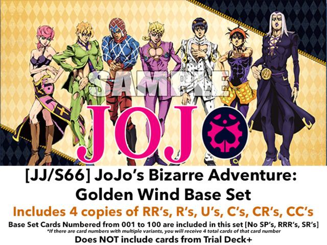 [JJ/S66] JoJo's Bizarre Adventure: Golden Wind (EN) Base Playset [Includes RR's, R's, U's, C's, CR's, CC's (400 cards)]