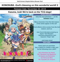 Konosuba Vol.2 (English) Weiss Schwarz Booster Box * PRE-ORDER SHIPS Nov.30