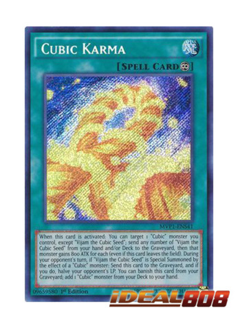 NM Yu-Gi-Oh Secret Rare Cubic Karma 1st Edition MVP1-ENS41