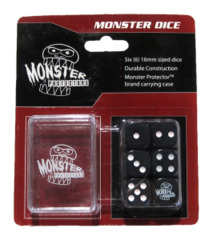 Monster Protectors - 6x  Six-Sided Dice (d6) & Carrying Case - Black