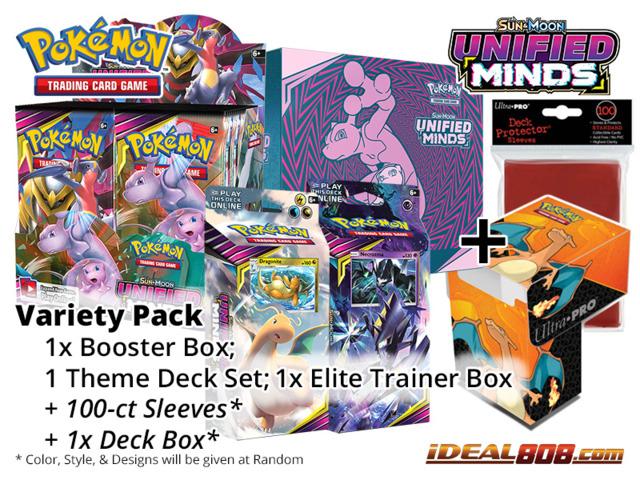 Pokemon SM11 Variety Pack - Get x1 Unified Minds Booster Box, x1 Theme Deck Set; x1 Elite Trainer Box + FREE Bonus