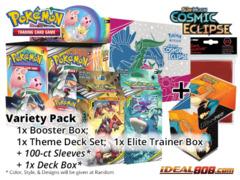 Pokemon SM12 Variety Pack - Get x1 Cosmic Eclipse Booster Box, x1 Theme Deck Set; x1 Elite Trainer Box + FREE Bonus