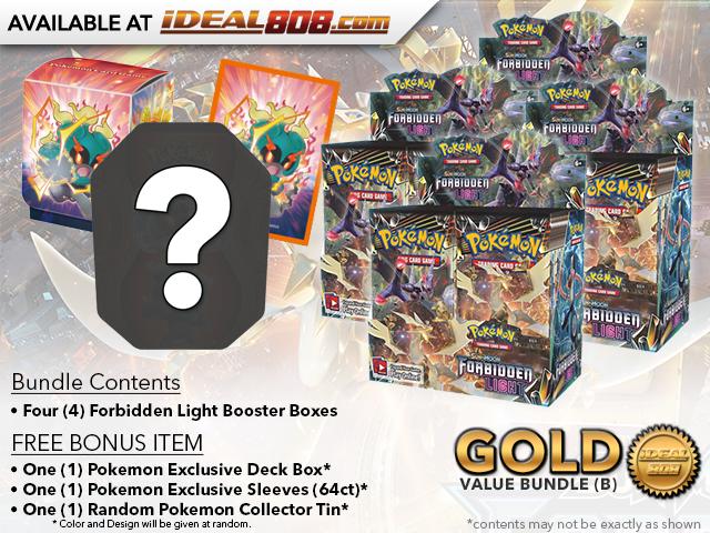 Pokemon SM06 Bundle (B) Gold - Get x4 Forbidden Light Booster Box + FREE Bonus * PRE-ORDER Ships Apr.30