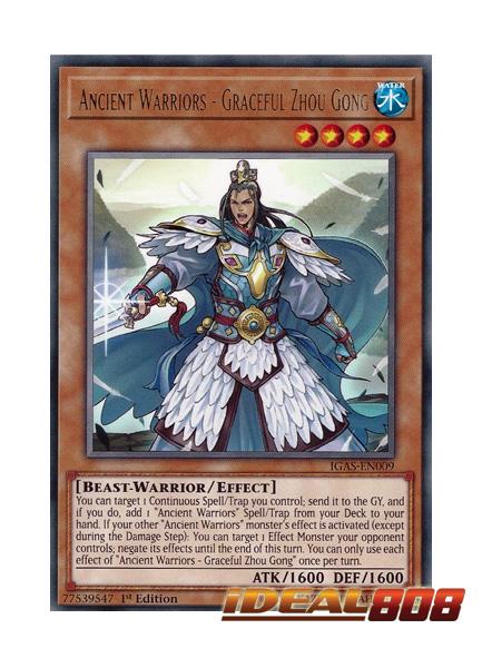3 x Ancient Warriors IGAS-EN009 1st Edition Graceful Zhou Gong - Rare