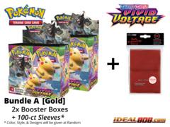 Pokemon SS04 Bundle (A) Gold - Get x2 Sword & Shield: Vivid Voltage Booster Box + FREE Bonus Items * PRE-ORDER Ships Nov.13