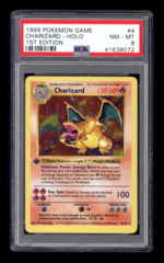 1999 Pokemon Game Charizard #4 Holo Base 1st Edition PSA 8
