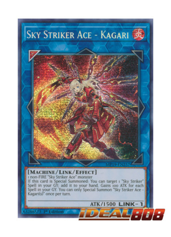 Sky Striker Ace Kagari Mp19 En257 Prismatic Secret Rare 1st Edition Yugioh Singles Ygo 2019 Gold Sarcophagus Tin Ideal808 Com