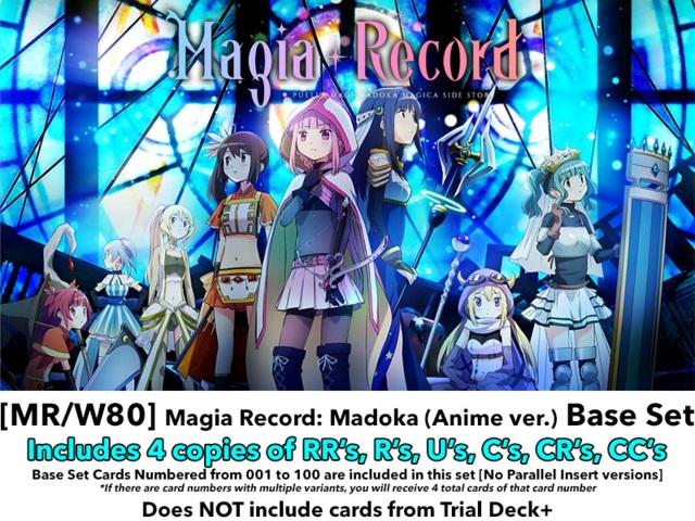 [MR/W80] Magia Record: Madoka (Anime version) (EN) Base Playset [Includes RR's, R's, U's, C's, CR's, CC's (400 cards)]