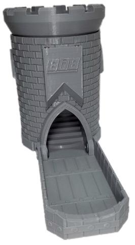 3D Dice Tower Castle - Primer Grey (iDeal808)