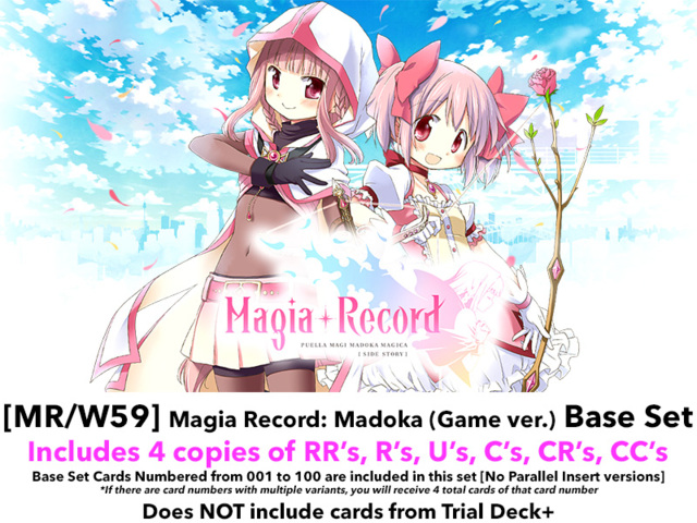 [MR/W59] Magia Record: Madoka (Mobile game version) (EN) Base Playset [Includes RR's, R's, U's, C's, CR's, CC's (400 cards)]