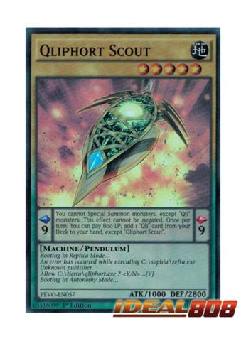 PEVO-EN057-1ST EDITION YU-GI-OH CARD SUPER RARE QLIPHORT SCOUT