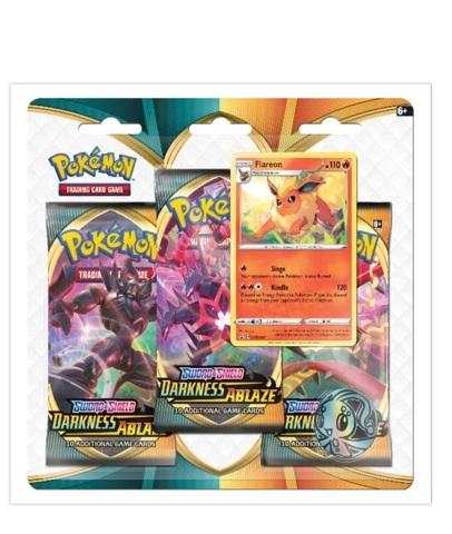 Pokemon TCG Sword & Shield Darkness Ablaze 3-Pack Blister Packs Flareon