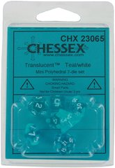7Ct Set Translucent Mini-Polyhedral Teal/White (CHX23065)