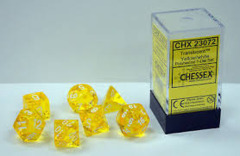 Dice Chessex Translucent: Poly Yellow/White (7) Revised CHX 23072