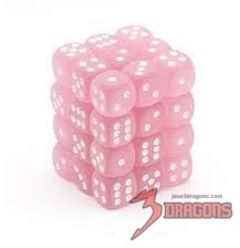 36 12mm Pink w/White Frosted D6 Dice - CHX27864