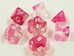 7 Gemini Clear-Pink/white Luminary Polyhedral  Dice Set - CHX30042