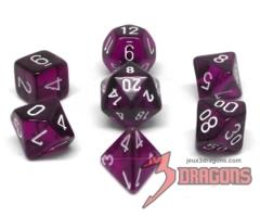 Translucent Purple/White Polyhedral 7-Die Set - CHX23077