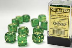 12 Borealis 16mm d6 Maple Green/yellow Dice Set - CHX27765