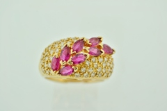 Marquise Ruby Diamond Ring in 14k Yellow Gold