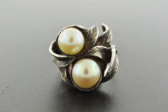 2 Cultured Pearls, Set in Antique Sterling Silver Ring